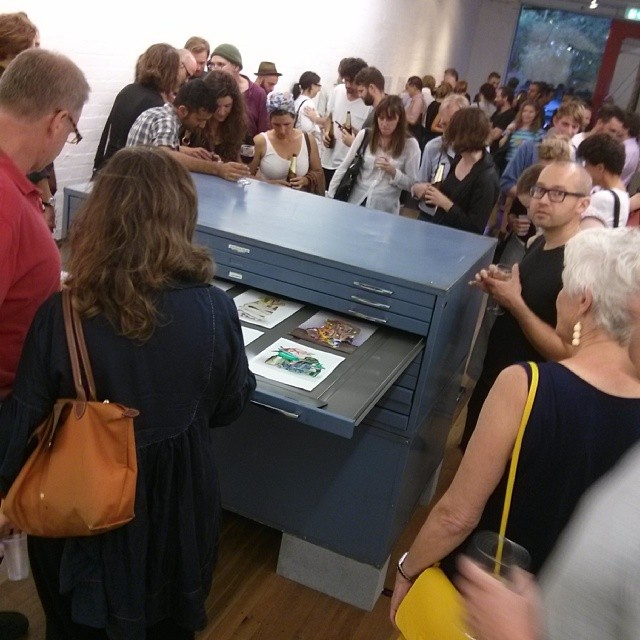 Crowds viewing Connie Anthes' 'Low Relief' at Damien Minton Gallery on 17 December 2013. Photography: Chloé Wolifson