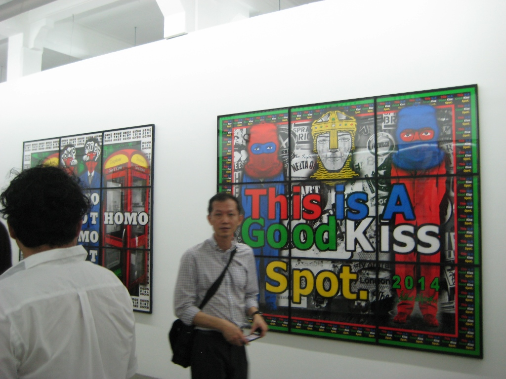 Gilbert & George's exhibition Utopian Pictures at ARNDT, Gillman Barracks, Singapore, January 2015. Photograph: Chloé Wolifson